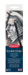 DERWENT CHARCOAL PENCILS SET - 6 STUKS