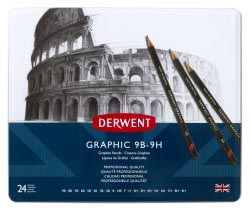 DERWENT GRAPHIC PENCILS SET - 24 STUKS