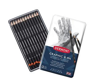 DERWENT GRAPHIC HARD PENCILS SET - 12 STUKS