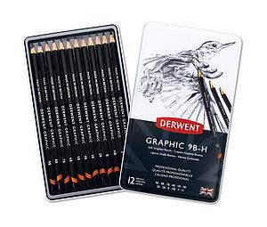 DERWENT GRAPHIC PENCILS SET - 12 STUKS